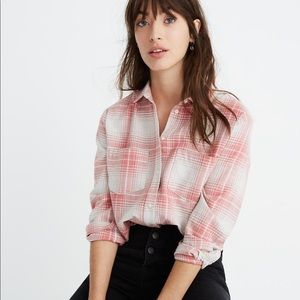 Madewell Flannel Sunday Shirt in Pink Plaid L